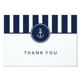 "Nautical Navy Thank You Card 3.5"" X 5"" Invitation Card"