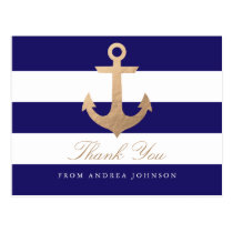 Nautical Navy Thank You Postcard