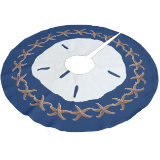 Nautical Navy Tropical Sand Dollar Starfish Brushed Polyester Tree Skirt