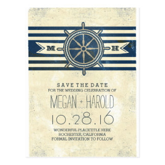 Nautical navy vintage save the date postcards