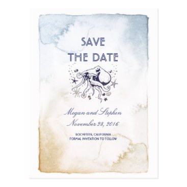 Beach Themed Nautical Navy Watercolors - Octopus Save the Date Postcard