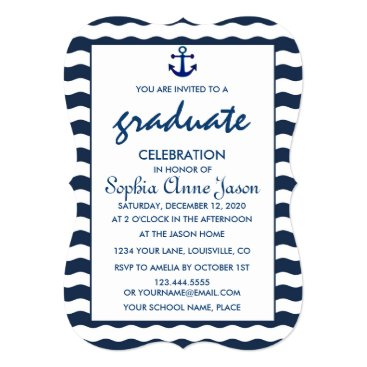 Beach Themed Nautical Navy Waves Anchor GRADUATION CELEBRATION Card