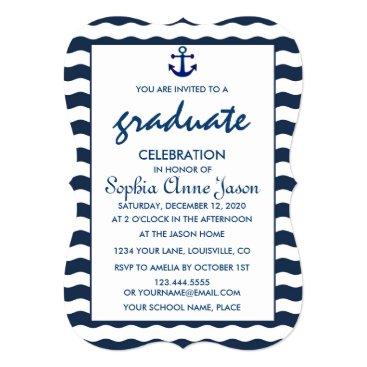 Beach Themed Nautical Navy Waves Anchor GRADUATION CELEBRATION Card