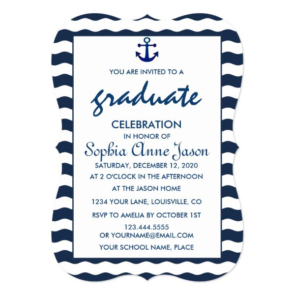 Nautical Navy Waves Anchor GRADUATION CELEBRATION Card