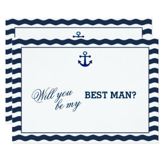 Nautical Navy Waves Anchor WILL YOU BE MY BEST MAN Card