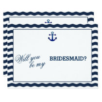 Nautical Navy Waves WILL YOU BE MY BRIDESMAID Invitation