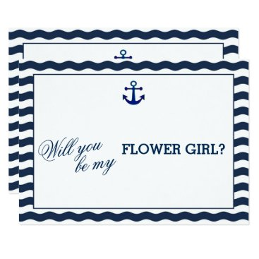 Beach Themed Nautical Navy Waves WILL YOU BE MY FLOWER GIRL Card