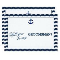 Nautical Navy Waves WILL YOU BE MY GROOMSMAN Invitation