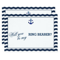 Nautical Navy Waves WILL YOU BE MY RING BEARER Invitation