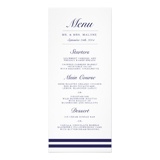 Nautical Navy Wedding Dinner Menu Invite
