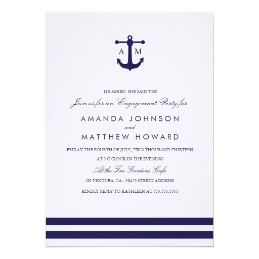 Nautical Navy Wedding Engagement Party Invite
