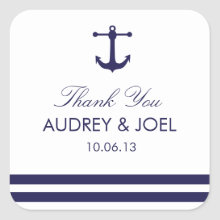 Nautical Navy Wedding Favor Stickers