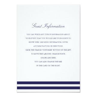 Nautical Navy Wedding Insert 4.5x6.25 Paper Invitation Card