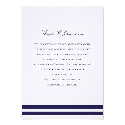 Nautical Navy Wedding Insert Custom Invitation