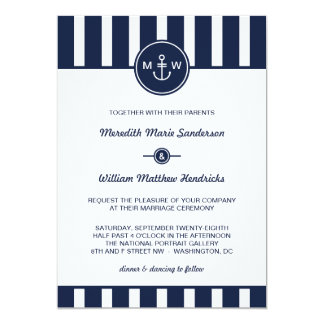 "Nautical Navy Wedding Invitation 5"" X 7"" Invitation Card"