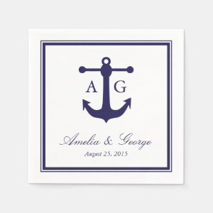 Nautical Navy Wedding Napkin
