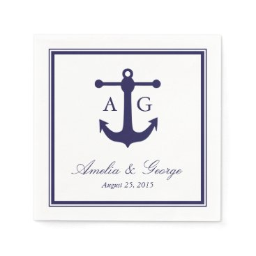 origamiprints Nautical Navy Wedding Napkin