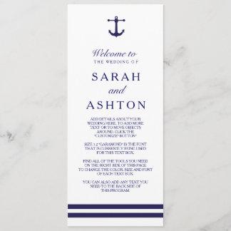 Nautical Navy Wedding Program