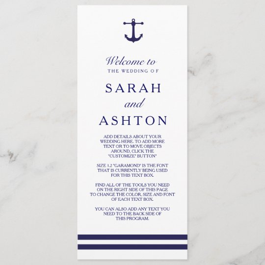 nautical navy wedding program zazzle com
