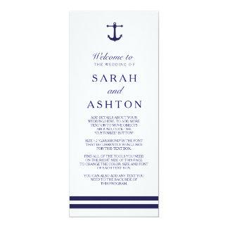Nautical Navy Wedding Program Card