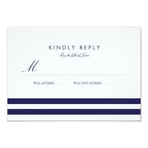 Nautical Navy Wedding RSVP 3.5x5 Paper Invitation Card