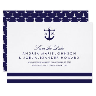 Nautical Navy Wedding Save the Date Card