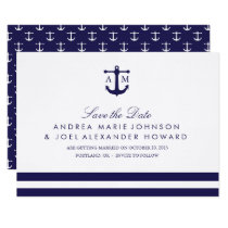 Nautical Navy Wedding Save the Date Invitation
