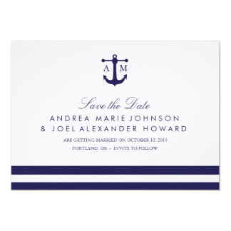 "Nautical Navy Wedding Save the Date 5"" X 7"" Invitation Card"
