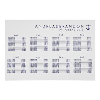 Nautical Navy Wedding Seating Chart Poster