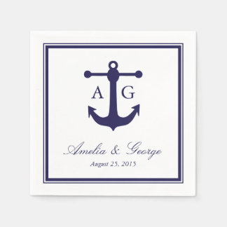 Nautical Navy Wedding Standard Cocktail Napkin