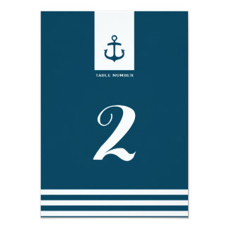 """Nautical Navy Wedding Table Number - 5"""" x 7"""" 5x7 Paper Invitation Card"""