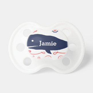 Nautical Navy Whale and Starfish Pattern BooginHead Pacifier