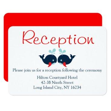 Beach Themed Nautical Navy Whales Red Wedding Reception Beach Card