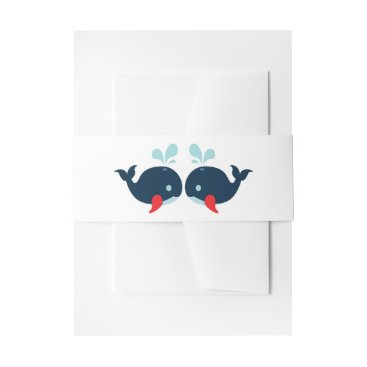 Beach Themed Nautical Navy Whales Wedding Blue  Red Beach Invitation Belly Band