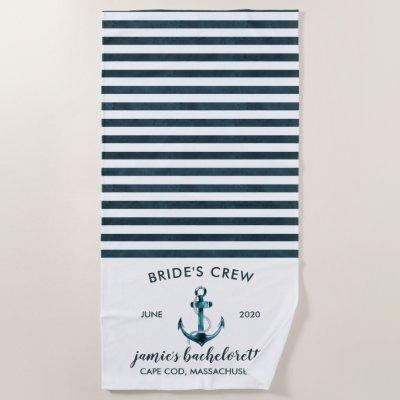 Nautical Navy & White Bachelorette Weekend Beach Towel