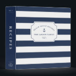 """Nautical Navy &amp; White Beach House Recipe 3 Ring Binder<br><div class=""""desc"""">Organize your favorite summer recipes in this nautical chic personalized binder. Design features wide navy and white stripes with a solid navy blue spine and classic lettering. Personalize the front with three lines of custom text (we love it with your name or family name, binder contents, and volume number), embellished...</div>"""