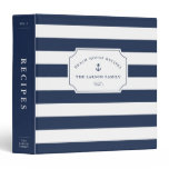 Nautical Navy & White Beach House Recipe 3 Ring Binder