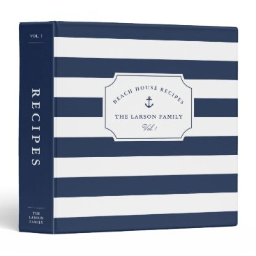RedwoodAndVine Nautical Navy & White Beach House Recipe 3 Ring Binder