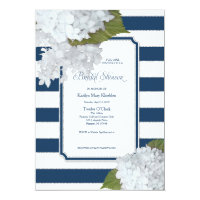 Nautical Navy White Hydrangea Modern Bridal Shower Invitation