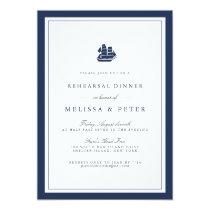 Nautical Navy & White Rehearsal Dinner Invitation