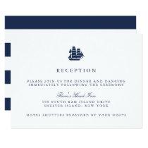 Nautical Navy & White Ship Wedding Reception Card