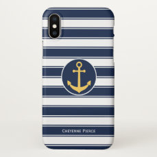 Nautical Navy White & Stripe   Anchor Personalized iPhone X Case