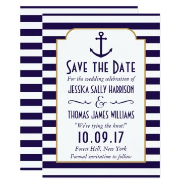 Beach Themed Nautical Navy & White Stripe Anchor Save The Date Card