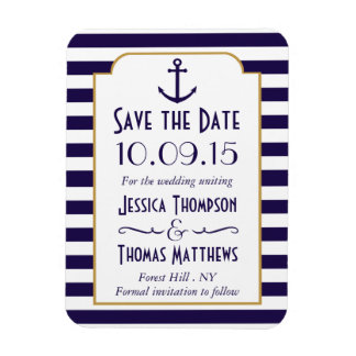 Nautical Navy & White Stripe Anchor Save The Date Magnet