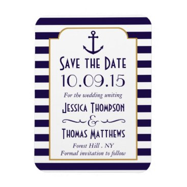 Beach Themed Nautical Navy & White Stripe Anchor Save The Date Magnet