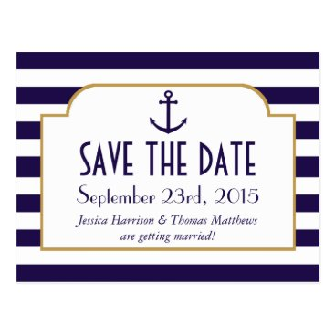 Beach Themed Nautical Navy & White Stripe Anchor Save The Date Postcard