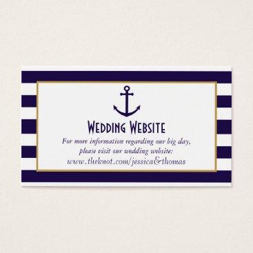Beach Themed Nautical Navy & White Stripe Anchor Wedding Business Card