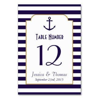 Nautical Navy & White Stripe Anchor Wedding Card