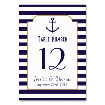 Beach Themed Nautical Navy & White Stripe Anchor Wedding Card