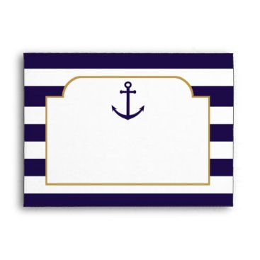 Beach Themed Nautical Navy & White Stripe Anchor Wedding Envelope